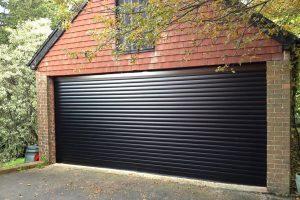 black large garage door